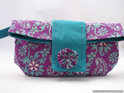 fold-over clutch - purple-teal-paisley