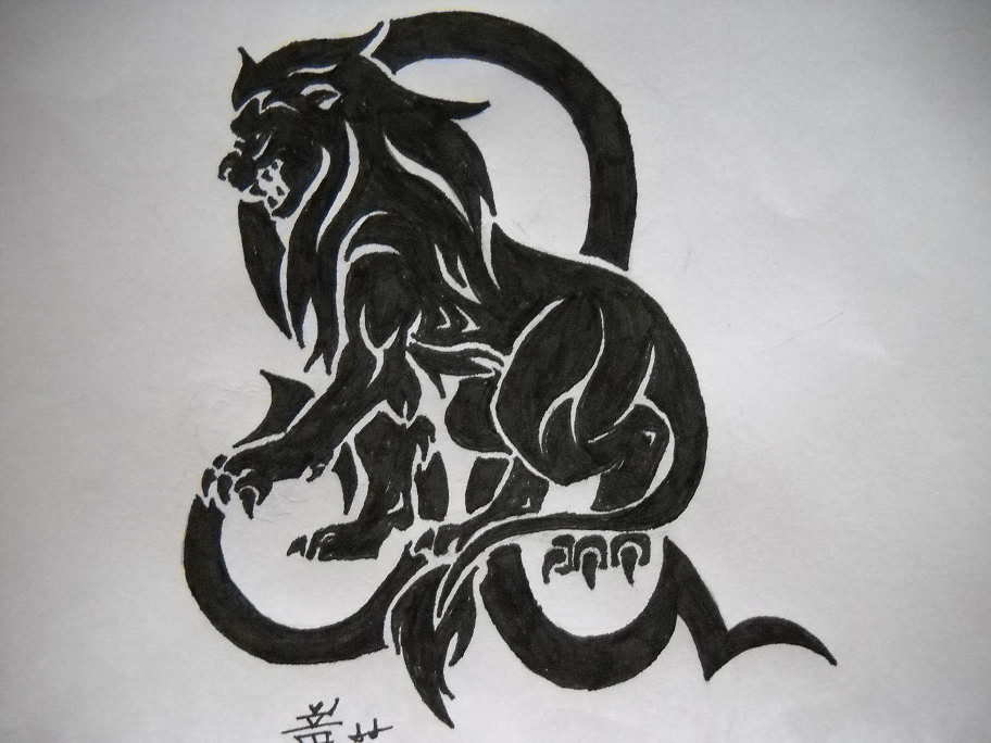 leo sign tattoo. Tribal Tattoo Lion Sign Leo