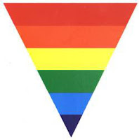 Gay Pride flag - inverted triangle is a symbol of evil