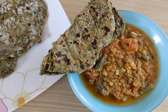 Garlic chard roti & pseudo lentils in creamy tomato sauce