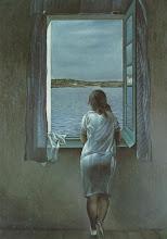 """Femme à la fenêtre - Thème """"fil rouge"""" de ce blog"""