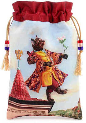 Baroque Bohemian Cats' Tarot, tarot bag drawstring pouch. The Fool. Tortie cat.