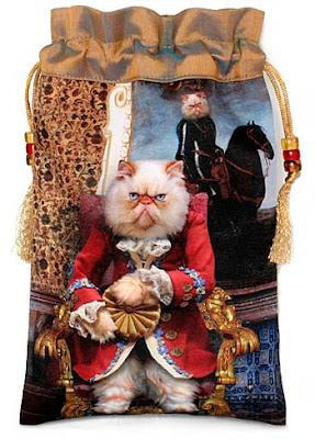 Baroque Bohemian Cats' Tarot, tarot bag drawstring pouch. Grumpy Persian