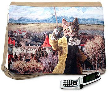 The Brave Tabby. Cotton canvas three-way messenger bag from Baba Studio