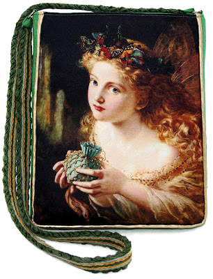 Fairytale shoulder purse in satins and silk, by Baba Studio