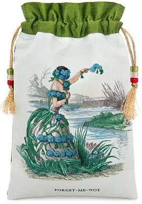 Forget me Not. Silk tarot bag or drawstring pouch with JJ Grandville illustration.