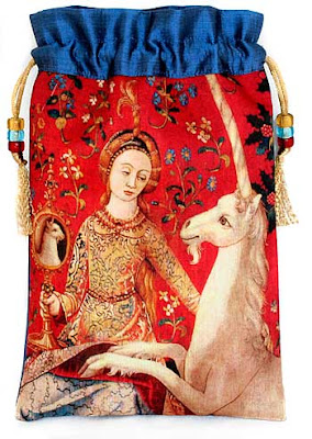 The Lady and the Unicorn. Silk and print tarot bag based on a medieval tapestry.
