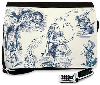 Alice in Wonderland Indigo Toile. Three-way essenger bag in Alice print and cotton canvas.