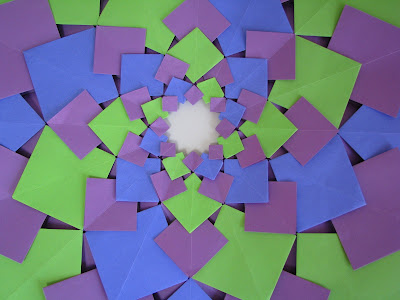 Tomoko Fuse's Origami Quilt Blooming Flowers 1 in Green, Blue, and Purple close up