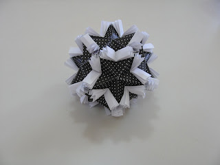 Tomoko Fuse Floral Origami Globes Black and White Butterflies Type III