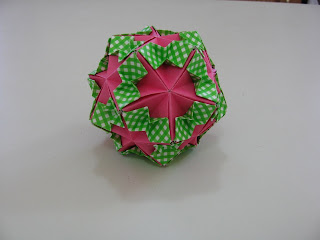 Tomoko Fuse Floral Origami Globes Pink and Green/White checkered Large Tucked Bows Type II