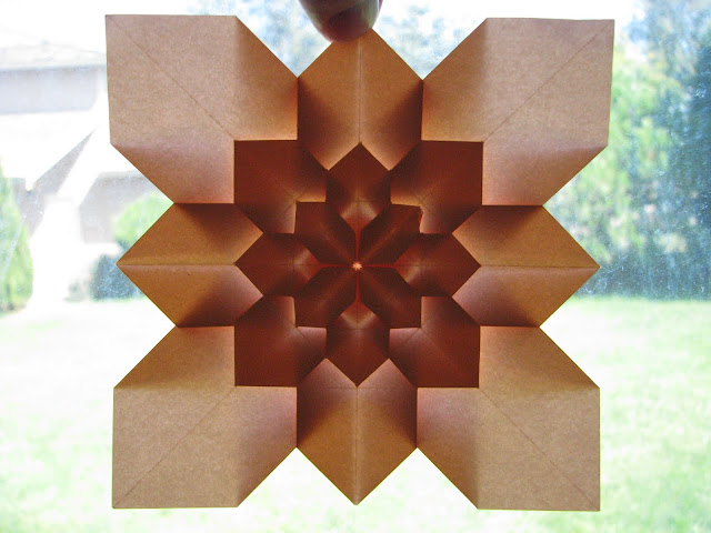 Shuzo Fujimoto Orange 5-layer Hydrangea Tessellation window lit reverse side