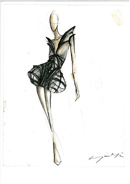 Drawings I made For my AW2010 collection 'Cage'
