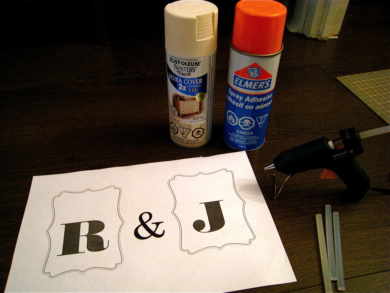 spray paint spray adhesive letter templates and hot glue gun