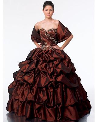 Vestido de 15 años - Color Marron/Bordo