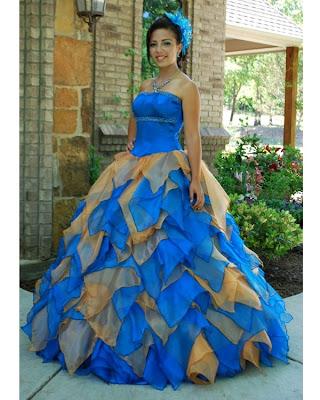 Foto de Vestido de 15 Años - Color Azul/Naranja