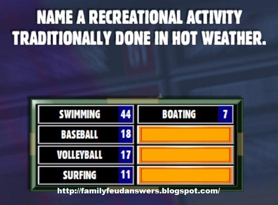 facebook family feud answers name a recreational activity. Black Bedroom Furniture Sets. Home Design Ideas