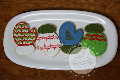 christmas holiday mitten cookies royal icing