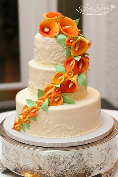 Cake Walk Mango Calla Lily Wedding Cake - Calla Lilly Wedding Cake