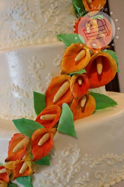 mango calla lily buttercream embroidery wedding cake