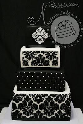 black white fondant wedding cake