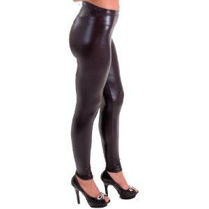 Black Shirt Dress on Shiny Black Leggings Colors Silver Gold Purple Black Stretch Fit
