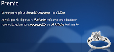 premio promocion diamante 1 kilate oro amarillo de 14 kilates Samsung Mexico 2010