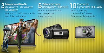 premios televisores Led sony Bravia Serie NX7xx, 5 videocamaras sony Handycam HDR-PJ10, 10 camaras sony Cyber-shot concurso Sony CES Mexico 2011