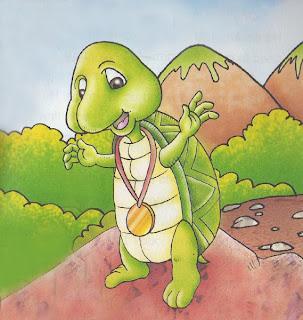 Cerita sang arnab dan kura-kura ini memang cukup tebal dengan moral.