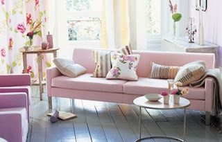 Fresh Pastel Living Room With Pink Sofa