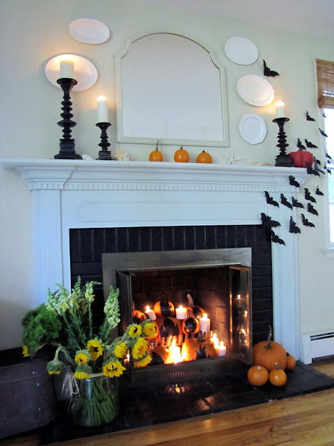 Halloween mantel link party 10 20 home stories a to z for How to decorate your fireplace for halloween