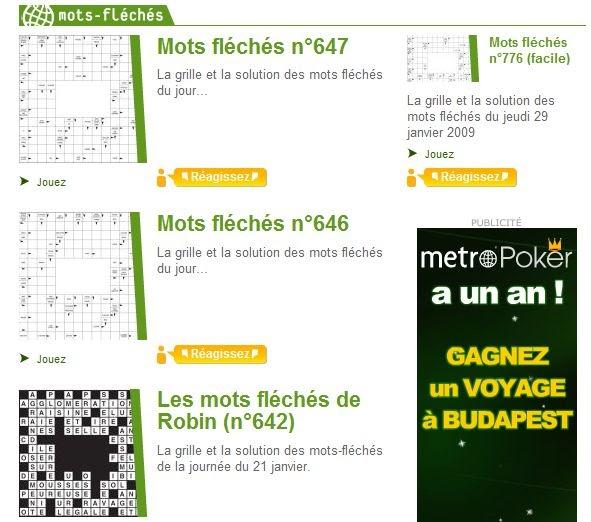 Mots fl ch s metro en ligne grilles solutions mots - Mots croises en ligne grille quotidienne ...