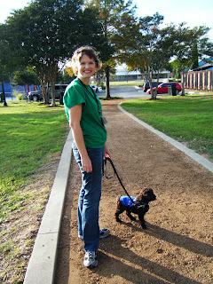 Alfie on his leash, wearing his tiny blue guide dog jacket