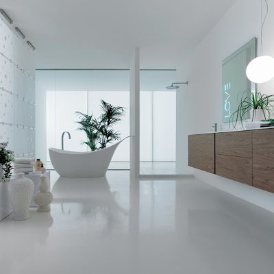 Modern-bathroom-with-white-bath-tub-wood-cabinets-and-plants