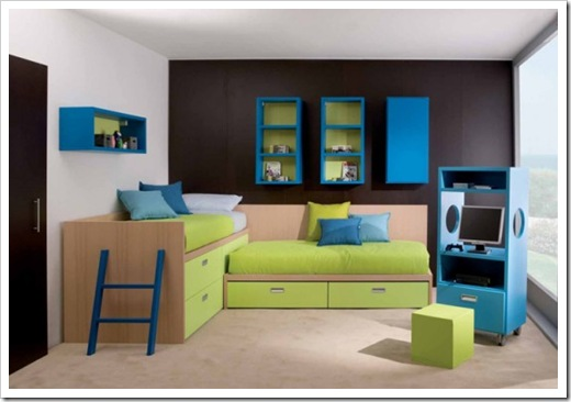 Contemporary furniture for children room decorated in blue and green.