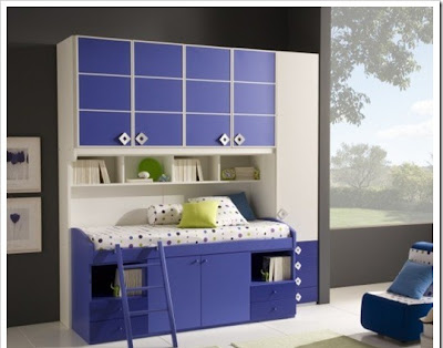 modern child room for boy decorated in blue and white