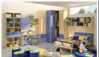 Modern children room furniture design in blue and yellow