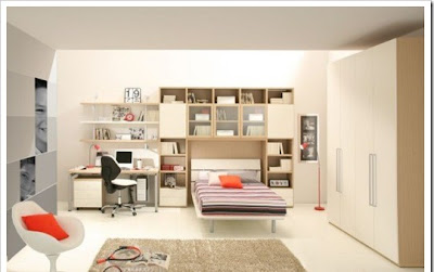 Modern teen room furniture design with stylish bed,cabinets,desk and stylish chair