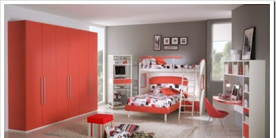 Large teen room furniture decorated in red color