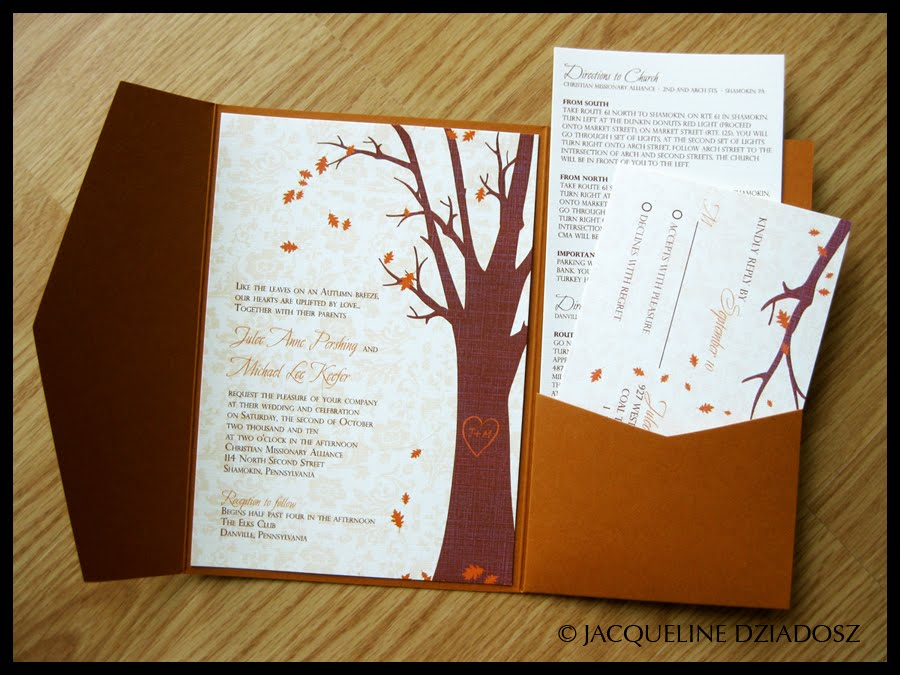Julee U0026 Michaelu0027s Autumn Invitations