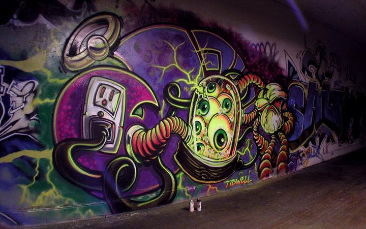 Best graffiti inspiration graffiti mural robot design for Graffiti mural