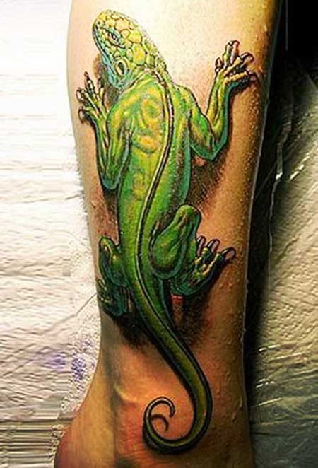 3d Iguana Tattoo Design