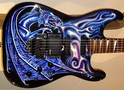 Blue Dragon Airbrush on Electric Guitar