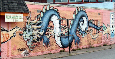 Dragon Graffiti Designs on Wall