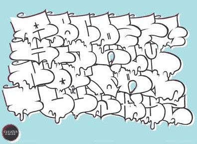 Graffiti bubble alphabet letters sketches