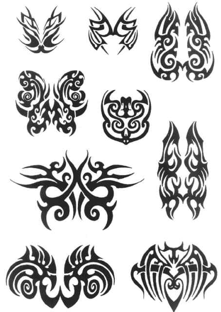 4 excellent set of shapes tribal tattoos. There are 51 tattoos.
