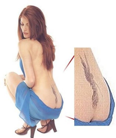 Angels Tattoo >> Angel Tattoo of Angie Everhart on her extreme lower back