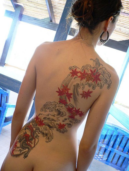 back tattoo women Back Wings Tattoo For
