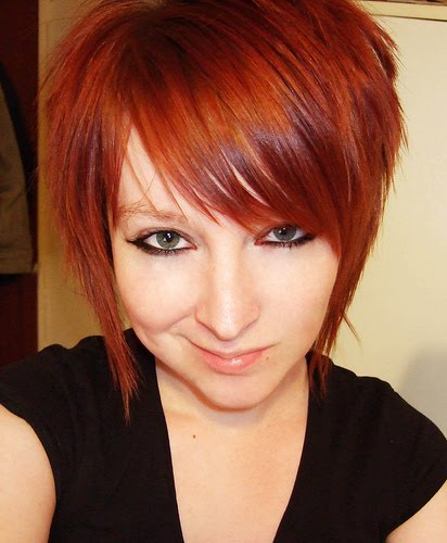 copper orange hair color. reddish orange hair dye.
