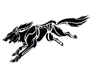 Wolf tribal tattoos designs 4